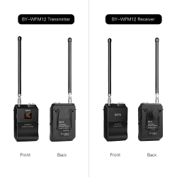Boya by Wfm12 VHF Wireless Microphone System with Omni Directional Lavalier Microphone 12 Switchable Frequencies 3.5mm Mini Jack for Smartphone DSLR Camera Camcorder